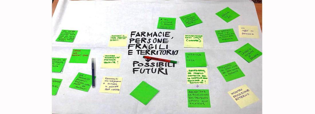 Cartellone con post-it realizzato dalle persone con disabilità insieme ai farmacisti che raccoglie le proposte per possibili futuri nel territorio